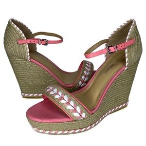 Antonio Melani Pink/White Leather Platform Wedge